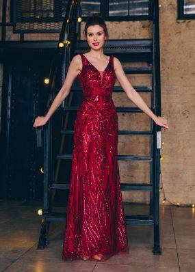 Вечернее платье из сетки с пайетками CH125B