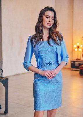 Голубое платье-футляр с болеро CH127B