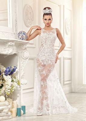 Свадебное платье с полупрозрачным шлейфом EV022 o