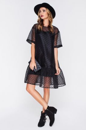 Вечернее платье с прозрачным верхом F141102B