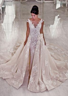 Свадебное платье силуэта русалка с шлейфом F18155171X