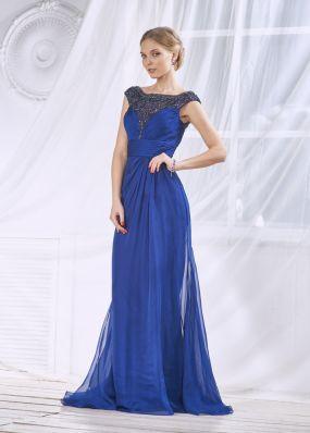Синее вечернее платье фасона русалка FA083B