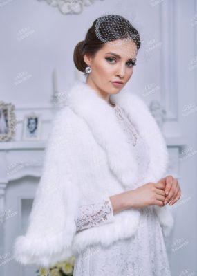 Белая накидка-болеро из натурального меха HA004
