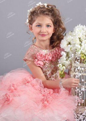Детское розовое платье из еврофатина HB007D