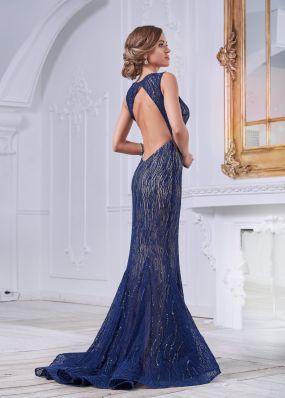 Синее платье фасона русалка с открытой спиной KP080B