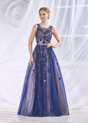 Длинное платье с пайетками и пышной юбкой KP090B