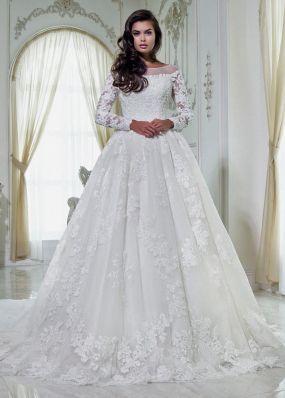 Пышное кружевное свадебное платье LB001-1X