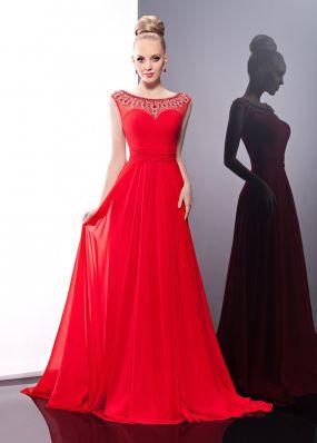 Струящееся красное платье с камнями MC049B