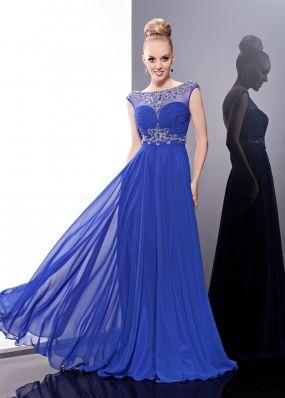 Синее вечернее платье в пол MC052B