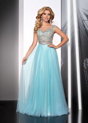 Голубое вечернее платье с орнаментом на лифе MC068B