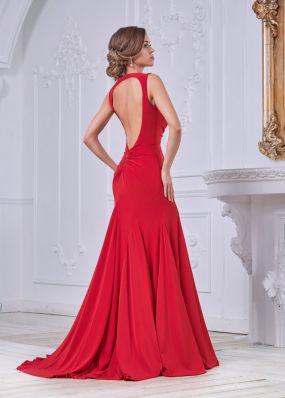 Красное вечернее платье с вырезом на спине MC091B