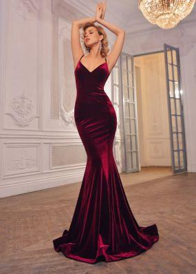 Бархатное вечернее платье-русалка MN003B