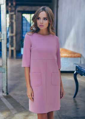 Короткое платье с накладными карманами MR050B