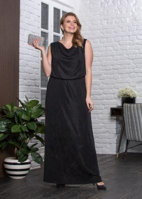 Длинное вечернее платье из блестящего джерси MT010B