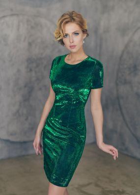 Короткое блестящее платье-футляр MT027B