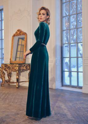Изумрудное бархатное платье MT037B