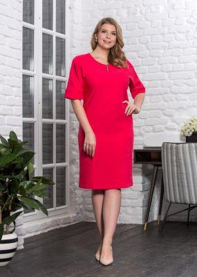 Красное платье-футляр N173-03-50