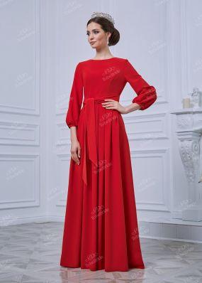 Длинное красное платье ND093B