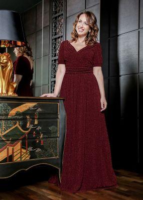 Длинное бордовое вечернее платье ND115B