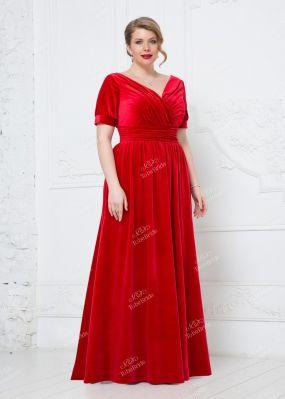 Длинное платье из красного бархата ND148B