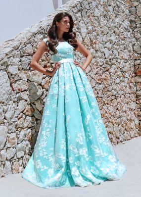 Бирюзовое платье с белыми цветами ND201B
