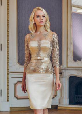 Вечернее платье с баской и узким поясом NN034B
