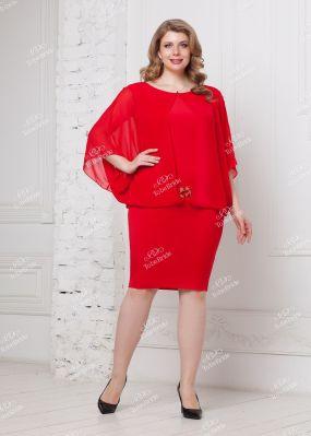 Красное платье с имитацией просторной накидки NN049B