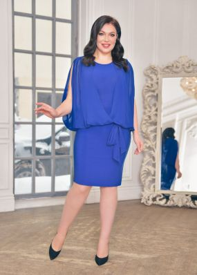 Облегающее вечернее платье с имитацией  накидки NN065B