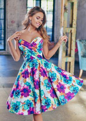 Летнее коктейльное платье с пышной юбкой NN075B