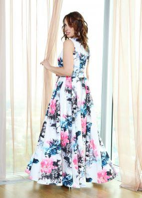 Длинное вечернее платье с цветочным принтом NN078B