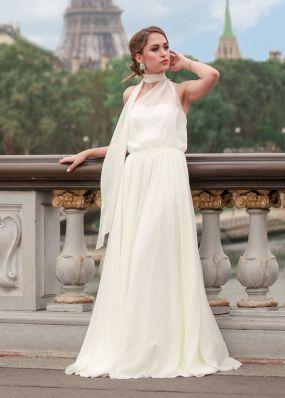 Свадебное платье с легким шарфом NS002