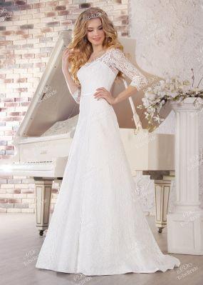 Длинное кружевное свадебное платье NS006