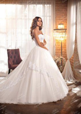 Свадебное платье айвори с фактурным кружевом OT001Y1