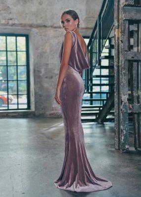Бархатное вечернее платье с открытой спиной PS001B