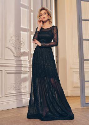 Полупрозрачное вечернее платье с люрексом RB054B
