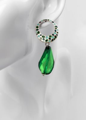 Зеленые серьги с эмалью RK034