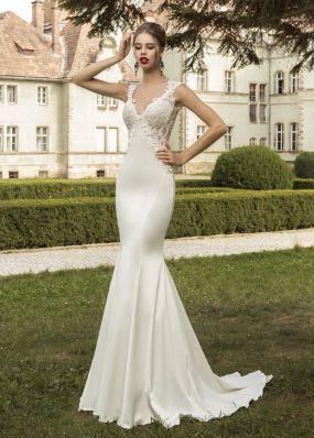 Свадебное платье-русалка со съемным шлейфом SOL002