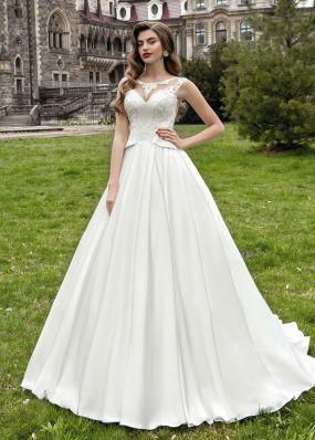 Атласное свадебное платье с кружевом SOL017