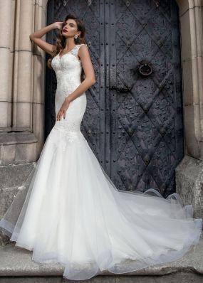 Свадебное платье силуэта русалка с кружевной спиной SOL018