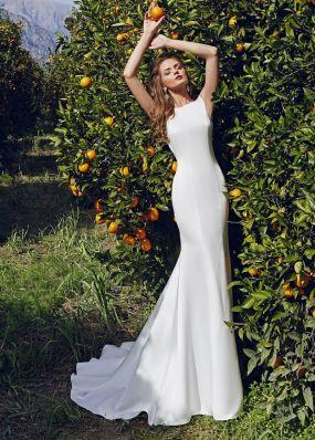 Атласное свадебное платье-русалка SOL027