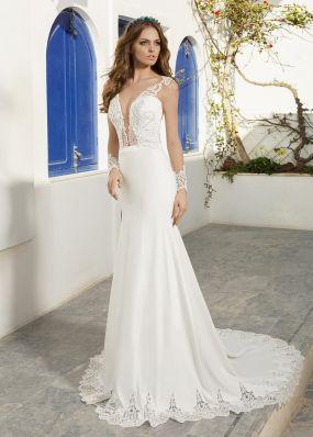 Прямое свадебное платье с кружевом SOL032
