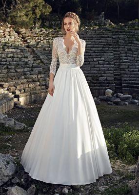 Свадебное платье с атласной юбкой SOL034