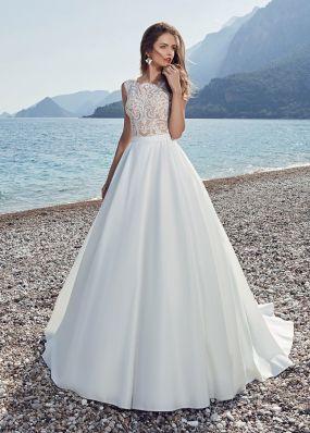 Свадебное платье с кружевным верхом и атласной юбкой SOL035