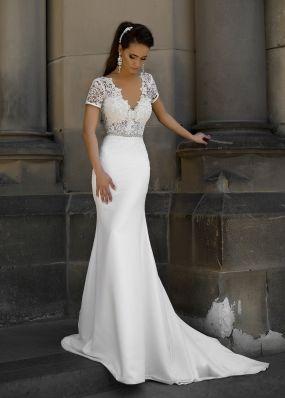 Свадебное платье-русалка с жемчужным поясом SOL045