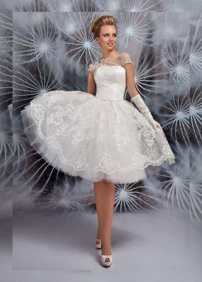 Короткое свадебное платье из кружева SOL047