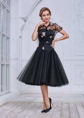 Черное вечернее платье с пышной юбкой TB019B