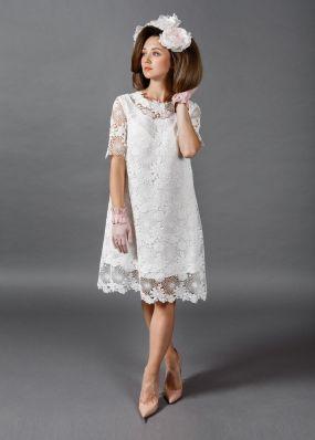 Кружевное свадебное платье до колена TB022