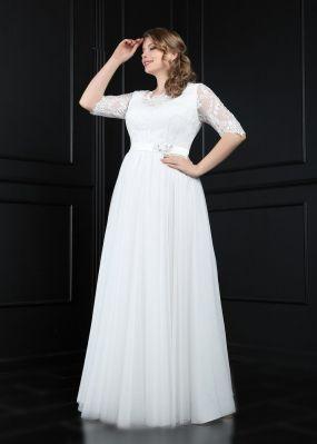 Свадебное платье с кружевными рукавами TB079