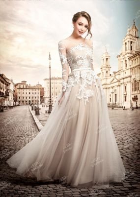 Бежевое свадебное платье в пол TB086