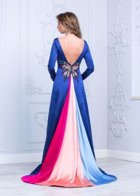 Длинное атласное платье с открытой спиной TB117B